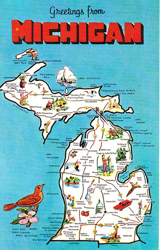 Flickriver photoset michigan by crayolamom michigan state greetings from map postcard m4hsunfo