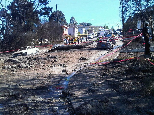 San Bruno natural gas pipeline explosion-a remnant of the line