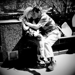 Love Is All You Need (antonkawasaki) Tags: nyc newyorkcity blackandwhite bw newyork man portraits is sitting you candid streetphotography an squareformat need moment having intimate iphone 500x500 candidportraits lovecouple iphoneography antonkawasaki womanall
