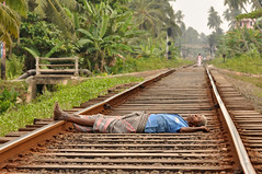 The year of sleeping dangerously (Sri Lankan Photos) Tags: life sleeping man danger train person dangerous track risk sleep live tracks rail railway sri lanka srilanka lying sleeper careful fermentation hikkaduwa lankan risky highrisk arrack sinigama