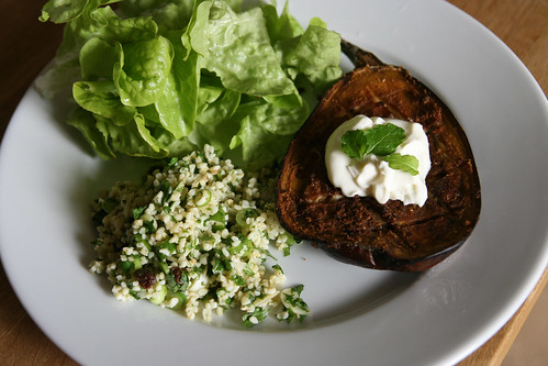 Yotam Ottolenghi's chermoula aubergine with bulgar and yoghurt recipe