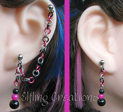 Pair of Hot Pink and Black Cartilage Chain Earrings