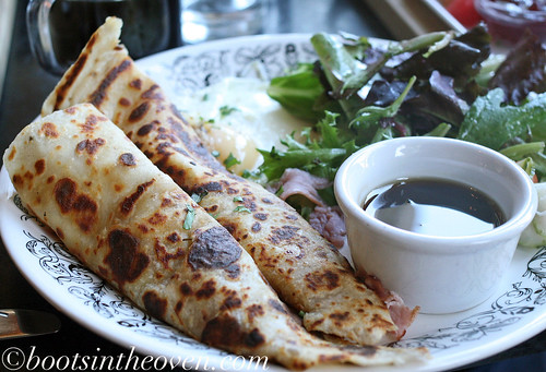 Lefse: filled with country ham and farmers' cheese, served with fruit ($9)
