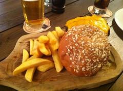 Burger and chips at Edinburgh's Ghillie Dhu
