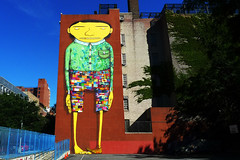 his pants are made of flags. (wacky doodler) Tags: nyc streetart graffiti