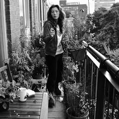 Rainy day (monyart) Tags: morning shadow portrait blackandwhite woman selfportrait me girl rain amsterdam contrast dark hair myself smoking girlpower biancoenero canoneos50d monyart