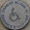 DISABLED ACCESS AT ENTRANCE IN SHOE LANE (Leo Reynolds) Tags: squaredcircle wheelchair signinformation sqset055 canon eos 7d 0003sec f56 iso100 150mm 05ev xleol30x groupwheelchairs hpexif sign xx2010xx