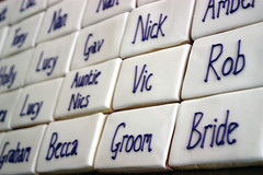 Wedding Placecard Cookies (ConsumedbyCake) Tags: wedding white cakes cookies sussex cupcakes worthing brighton purple vanilla pearl iced names shortbread lustre placecard favours consumedbycake