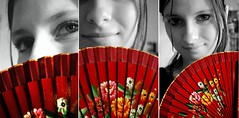 One way is to keep on wearing masks, one way is to keep removing them. (surfingstarfish) Tags: red portrait selfportrait girl face fan gesicht triptych expression young frau cati selbstportrait mdchen jugend fcher blackwhiteandcolour