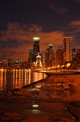 Big John After Dark..... (Seth Oliver Photographic Art) Tags: autumn chicago reflections illinois nikon midwest nightimages cityscapes lakemichigan nightshots chicagoatnight pinoy johnhancockbuilding nightscapes chicagoskyline urbanscapes goldcoast longexposures chicagoist cityskylines chicagolakefront d90 nightexposures 10secondexposure bigcities wetreflections portraitformat moderncities shutterspeedpriority modernskyscrapers setholiver1 chicagoafterdark 18105mmnikkorlens earlyfallinchicago