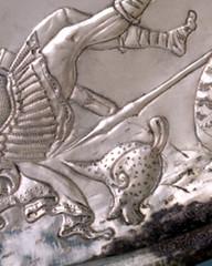David & Goliath, detail, Byzantine silver, 7thc, Metropolitan Museum of Art (julianna.lees) Tags: britishmuseum cintamani romansilver byzantinesilver 4thcad missoriumoftheodosius byzantinechairornaments byzantineleadweights