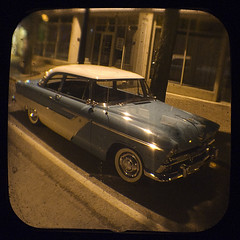Yesterday's Main Street (Friendly Joe) Tags: auto classic car automobile antique plymouth oops heh ttv throughtheviewfinder anscoflexii fiftysumpn forgottoseewhatitreallywas swipedthetitlefromchicagosmuseumofscienceandindustry