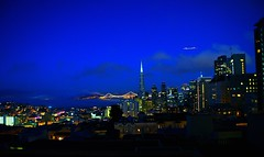 """""""The City"""" (Nicholas Seidl Photography) Tags: sky night plane canon wonderful landscape lights bay san francisco with bright bokeh no it fran used cisco area isnt capture hdr nithtime t1i"""