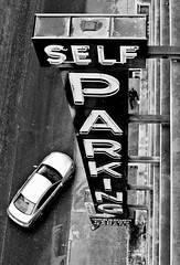 Self Parking (Brandon Doran) Tags: sanfrancisco roof blackandwhite bw rooftop geotagged delete2 parkinggarage parking save3 delete3 save7 save8 delete delete4 save save2 fav20 save9 save4 signage save5 save10 save6 unionsquare fav30 35mmf2 fav10 savedbydeletemeuncensored downtowncentergarage framed1 dsc9966edit geo:lat=3778658035 geo:lon=12240983964 bdpstreet