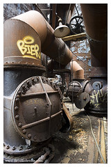 pipe-tacular (statlerhotel) Tags: light red mill abandoned industry wheel yellow rust ruins industrial factory angle decay steel pipes ruin angles chain level valve round furnace blast 20mmf28d d700