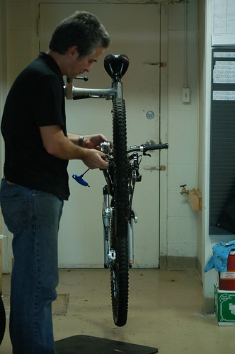 Robert Taylor works on a bike at Victory Bicycle Studio