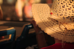 Sunset Light Dream (Federica Mu ) Tags: travel light sunset summer bus girl hat pessoa warm dof bokeh dream 85mm malta viaggio f4 goldenhour cappello sliema