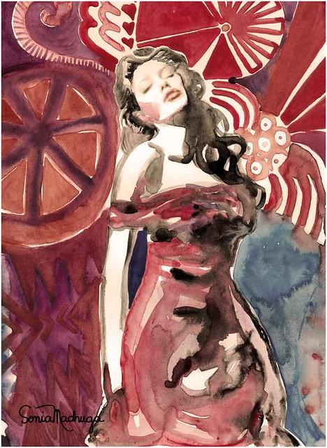 IMACULADA > vem ai a nova expo: PESSOAS A VONTADE. Angelina Jolie > presente - aquarela de Sonia Madruga by Aquarelas