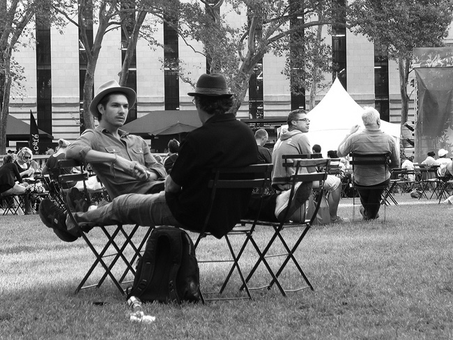 Guys in hats, Bryant Park