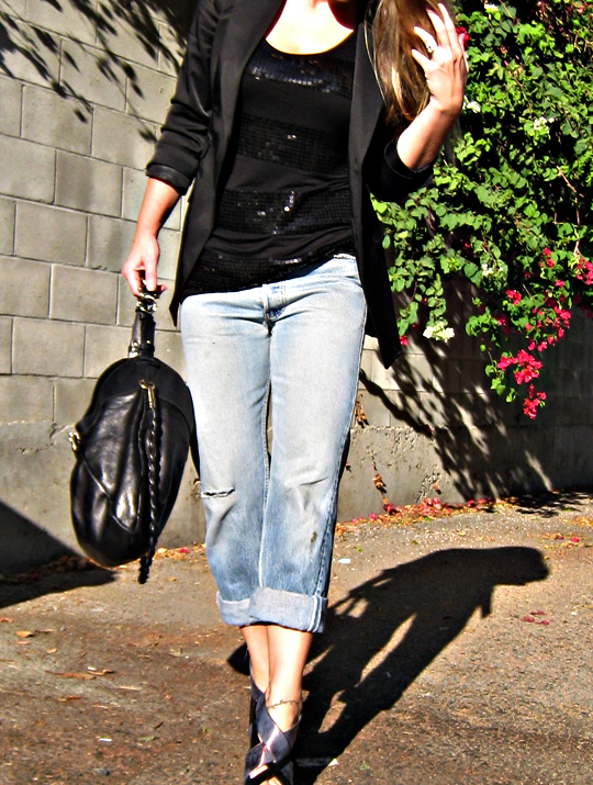 old levis and a black blazer+sequin tank+ferragamo bag+kirkwood heels