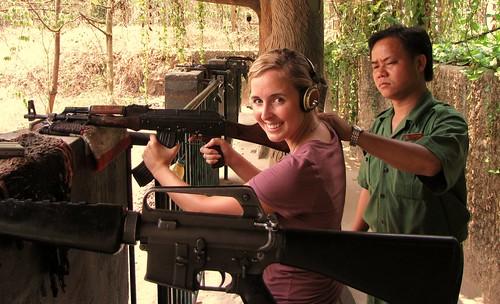 Cu Chi Tunnels - Shooting Range - Ash Prepping Her AK47