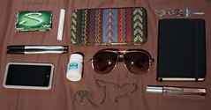 What's in your purse? (lisa.aimee) Tags: pink blue red orange brown house green sunglasses gum notebook necklace key ipod perfume wallet purse sharpie pens advil chapstick whatsinyourpurse