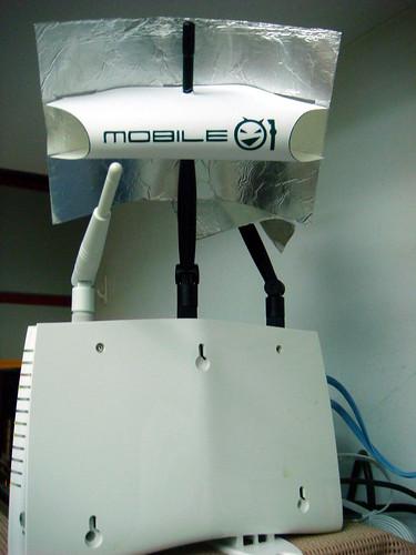 自製無線增益天線-插在無線AP天線上