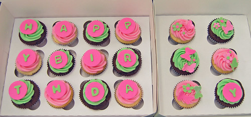 pink and green Happy Birthday cupcakes with butterflies
