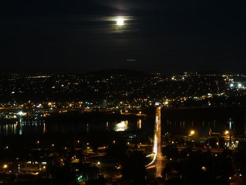 Full Moon Rise over Ross Island Bridge