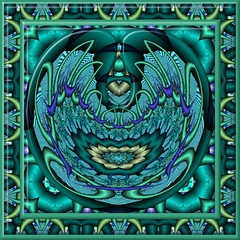 Created for K-Play - Jump and Tag (CharmaineZoe) Tags: green art turquoise kaleidoscope frame fractal kplay