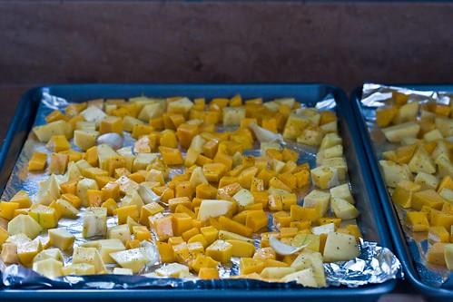 butternut squash, acorn squash, garlic cloves