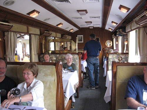 Interior of the Hiram Bingham train to Machu Picchu