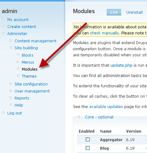 Drupal Module Administration Menu Tutorial