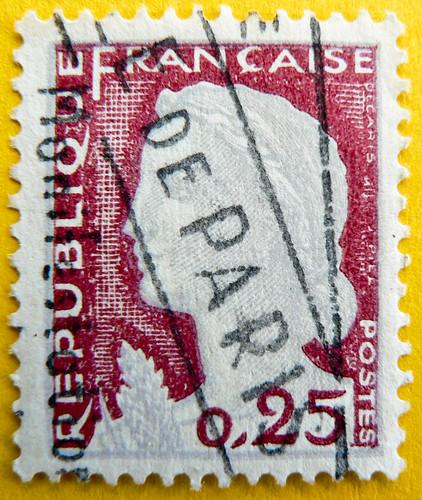 """beautiful french stamp France 0.25 timbres Francaise Frankreich Briefmarken Marianne """"Decaris"""" Postes Republique Francaise """"de Paris"""" 0,25c RF selo sellos francobolli"""