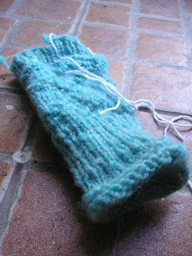 Handspun wristwarmers in progress