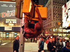 Muscle Work Out Times Square (david_shankbone) Tags: nyc newyorkcity shirtless newyork tourism public muscles lights exercise broadway tourists timessquare stockphotos pushups workout trafficsign abs blackmen walksign pullups blackguys freeimages largephotographs bydavidshankbone shankboneorg haltsign