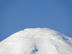 Zoom of Rainier from roadside pullout on Highway 123.