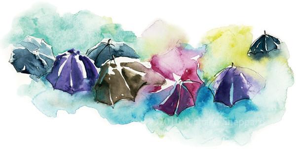 Umbrellas in the Rain, Athens