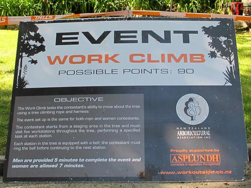 tree climbing sign