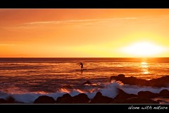 alone with nature (Eric 5D Mark III) Tags: ocean california sunset orange seascape reflection nature silhouette golden wave atmosphere orangecounty tone lagunabeach ef24105mmf4lisusm