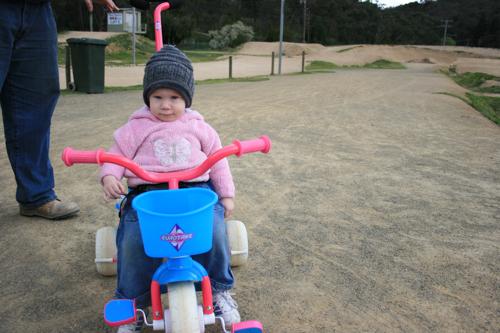 at the bike track