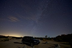 under billions of stars (Eric 5D Mark III) Tags: longexposure shadow car silhouette vw night volkswagen stars landscape nationalpark desert joshuatree midnight vehicle campground suv touareg whitetank lightpollution milkyway ef14mmf28liiusm