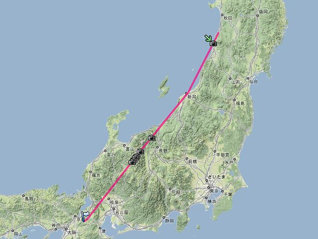 Flight track of JAL2171, May 1, 2009