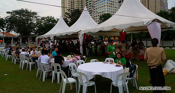 Various tents, serving different hawker fares