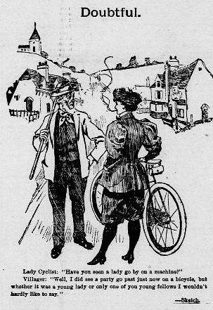 """Doubtful"" - Lady Cyclist cartoon (1895)"