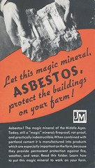 Magic Mineral Asbestos (Asbestorama) Tags: farm ad mining safety advertisement jm middleages asbestos fireproof chrysotile indestructible portlandcement johnsmanville magicmineral industrialhygiene rotproof