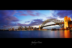 Sydney Cove Panorama (Christopher Chan) Tags: australia newsouthwales nsw sydney sydneycove panorama sunset sydneyharbourbridge sydneyoperahouse skyline city bluehour canon 30d tamron 18250mm