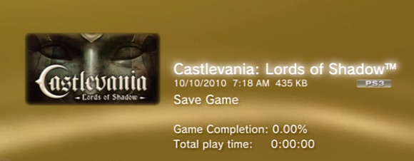 Castlevania: Lords of Shadow - corrupt save file