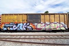 MENK  SNEZ (TRUE 2 DEATH) Tags: railroad streetart art train graffiti tag graf railcar boxcar railways railfan freight freighttrain snez menk benching freighttraingraffiti