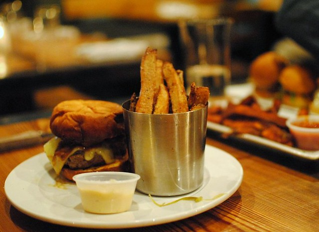 the bacon cheeseburger + truffled fries